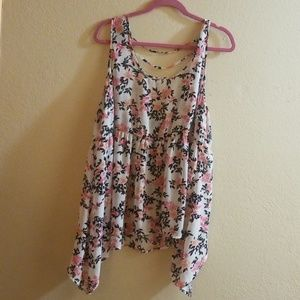 Black and pink floral handkerchief blouse